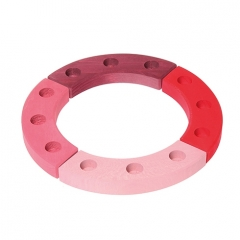 Grimm's 12-Hole Pink-Red Wooden Ring