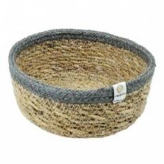 ReSpiin Grey Small Shallow Seagrass & Jute Basket