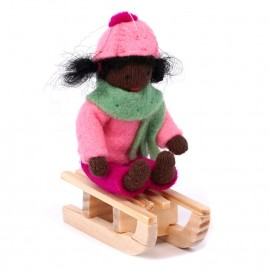 Ambrosius Hanging Girl On Sledge Dark Brown Skin