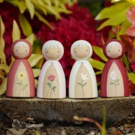 Peepul Summer Flowers Peg Doll Set