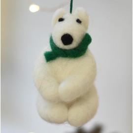 Fair Trade Felt Polar Bear Decoration by Namaste