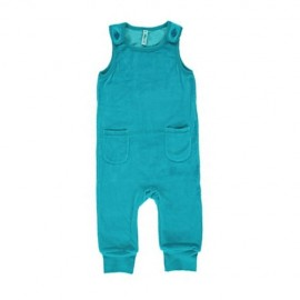 Maxomorra Turquoise Velour Dungarees With Pockets