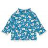 Frugi Little Snuggle Fleece - Diver Blue Happy Hens/White