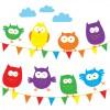 Babipur Owl Bunting Greetings Card